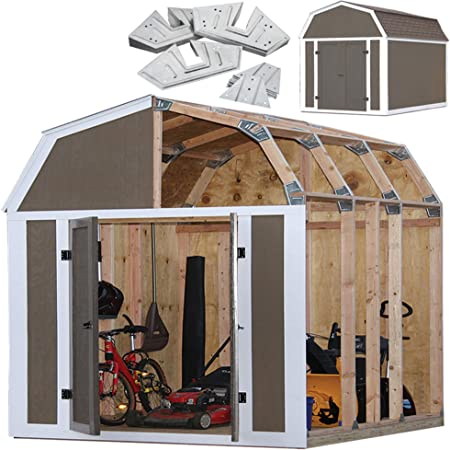EZBUILDER 70188 Barn Style Shed Instant Framing Kit, 7'x8', Brown