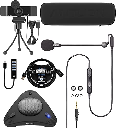 popular Antlion wholesale Audio ModMic Uni Attachable Noise-Cancelling Microphone with Mute Switch Bundle with Blucoil 1080p outlet sale USB Webcam, USB Conference Speakerphone, USB-A Mini Hub, and 3' USB Extension Cable sale