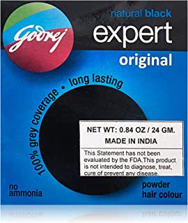 Godrej Natural Black Expert Powder Hair Color, 24 Gram