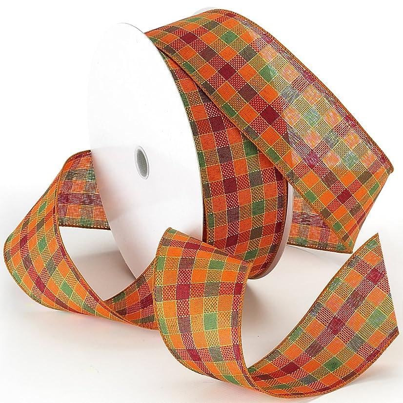 Morex Ribbon Autumn Hayride Plaid Wired Fabric Ribbon, Orange, 2-1/2 in x 50-Yd