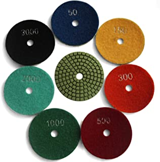 Easy Light Diamond 3 Inch Wet Polishing Grinding Pads 7 Pcs for Granite Marble Stone Grit 50-3000