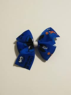 Sesame Street hair bow, girls hair bow, cookie monster, chocolate chip cookie bow, royal blue hair bow, 4