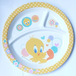 HMI Cartoon Character 3 Section Round Melamine Plate for Kids (Tweety, 4 Ounce)