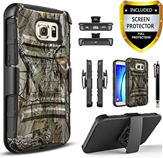 Galaxy S6 Case, [NOT FIT S6 Edge] Phone Cover Built-In Kickstand Bundled with [Premium Screen Protector] Hybird Shockproof And Circlemalls Stylus Pen For Samsung Galaxy S6-(Camo)