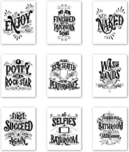 Palace Learning Bathroom Decor - Set of 9 Funny Bathroom Quotes and Sayings - Double Sided - Wall Art Prints - Toilet Humo...