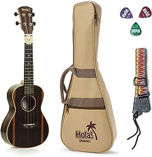 Concert Ukulele Deluxe Series by Hola! Music (Model HM-124EB+), Bundle Includes: 24 Inch Ebony Ukulele with Aquila Nylgut ...