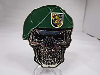 United States Army Special Forces Creed Green Berets 5th SFGA Skull Challenge Coin