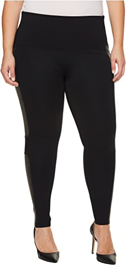 Spanx - Plus Size Panel Leather Ponte Leggings