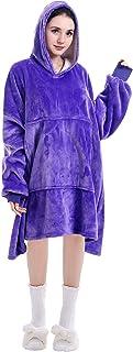 Double-layer oversized long hoodie sweatshirt, portable microfiber and sherpa blanket, super soft and comfortable, huge la...