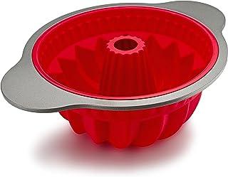 جعبه پخت و پز کیک جعبه سیلیکون Boxiki ، قالب پوند غیر استیک حرفه ای برای پخت کیک پوند ، نان | قاب FDA تأیید شده با سیلیکون w / Grade Grid Steel Steel و دسته های SiliconeBundtPan