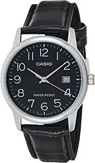 Casio Men's Black Dial Leather Band Watch - MTPV002L-1B