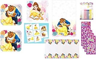 Beauty and the Beast Birthday Party Supply Bundle for 16 includes Dessert Plates, Napkins, Table Cover, Tattoos, Stickers, Candles