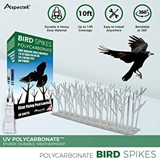 Aspectek Plastic Polycarbonate Bird Spikes Kit with Adhesive Glue, Covers 10 Feet