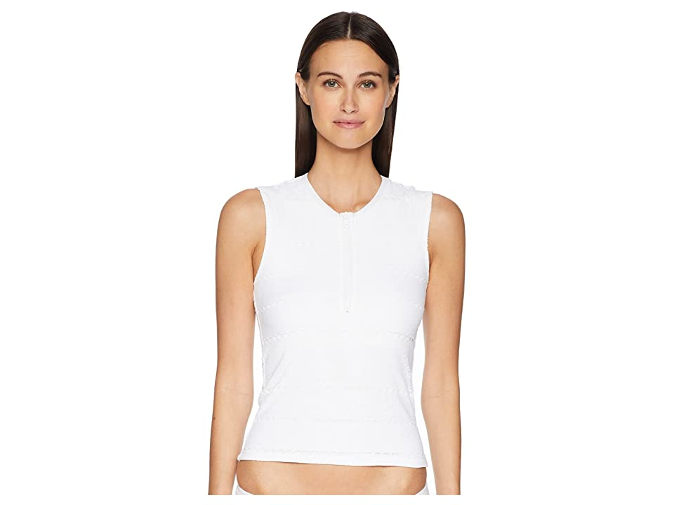 Letarte Sleeveless Zip-Up Rashguard (White) Women