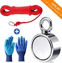 Fishing Magnet with Rope Glove Set, 660LB Pulling Force Super Strong Neodymium Magnet with 32 ft Nylon Rope & Carabiner for Magnet Fishing and Retrieving in River - 60mm Diameter