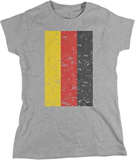 Amdesco Deutschland Germany Flag, Faded Vintage German Flag Women`s T-Shirt