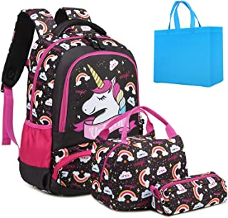 Girls School Backpack Unicorn Backpack for Girls Elementary School Bookbags for Kids Water Resistant School Bag with Lunch Tote Bag Pencil Purse Bag 3 in 1 Sets