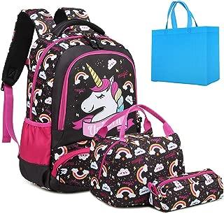 Teen Girls Backpack Set Kids School Bookbag with Lunch Tote Bag Pencil Case Cute Unicorn School Backpacks