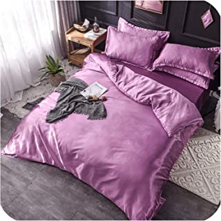 Luxury 100% Silk Bedding Set King Queen Twin 3/4/5Pcs Bed Linen Solid Color Satin Bedding with Duvet Cover Bed Sheet Pillowcases,Pale Mauve,Queen Size 4Pcs
