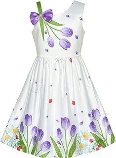 Sunny Fashion Girls Dress Purple Tulip Flower Bow Tie One Shoulder Size 6-12 Years