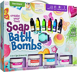 Soap & Bath Bomb Making Kit for Kids - All Inclusive Soap Making Kit to Make Your Own Bath Bombs, Soap & Bath Scrubs : 3-in-1 Spa Science Kit For Kids : Kids Science Kit - Gift for Girls and Boys