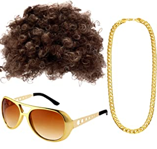 Afro Hippie Costume Set Includes Funky Afro Wig, Disco Rockstar Gold Celebrity Sunglasses and Faux Gold Chain Necklace for 50/60/70s Themed Party Disco Men Women Party Accessories