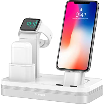 Charging Stand for Apple Watch Series 4, Conido 3 in 1 6 Port USB Rechargeable Stand Docks Holder Compatible for Airpods iWatch Series 4321, iPhone