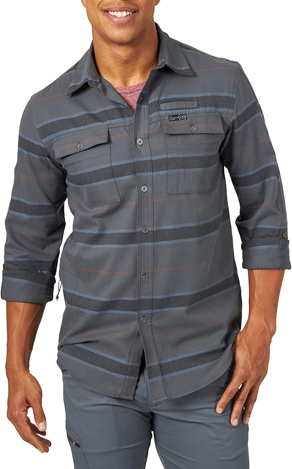 famous ATG by Wrangler Men's Long Columbus Mall Eco Shirt Sleeve Utility Flannel