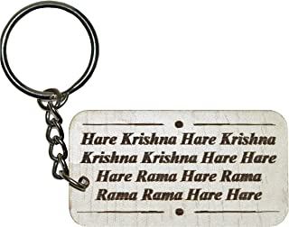 Hare Krishna Hare Rama Mahamantra Key Ring (White)- VRINDAVANBAZAAR.COM
