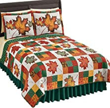 Collections Etc Revirsible Patchwork Quilt with Colorful Fall Leaves on White Background and Green Tone on Tone Leaves Reverse Side, Autumn Colors, Red and Green, King