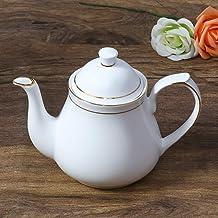 Femora Indian Ceramic Fine Bone China Gold Line Tea Kettle Tea Pot for Office, Home, 1pc, Serving for 3