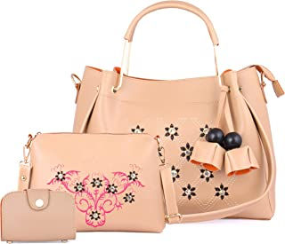 Speed X Fashion Women's Handbag With Sling Bag & Card Slot PU Combo Cream (Set of 3)