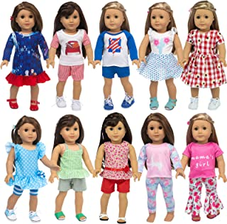 ZQDOLL 23 Pcs American Doll Clothes Dress and Accessories fit American 18 inch Girl Dolls - Including 10 Complete Set of C...