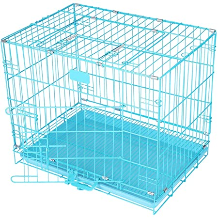 PET ZONE INDIA Dog and Cat Double Door Folding Metal Cage with Paw Protector (24 Inch)