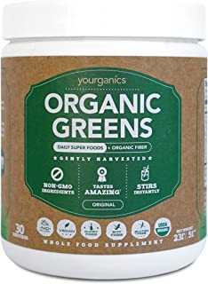 Organic Greens by Yourganics, Daily Superfood Green Juice Powder Supplement (30 Servings)
