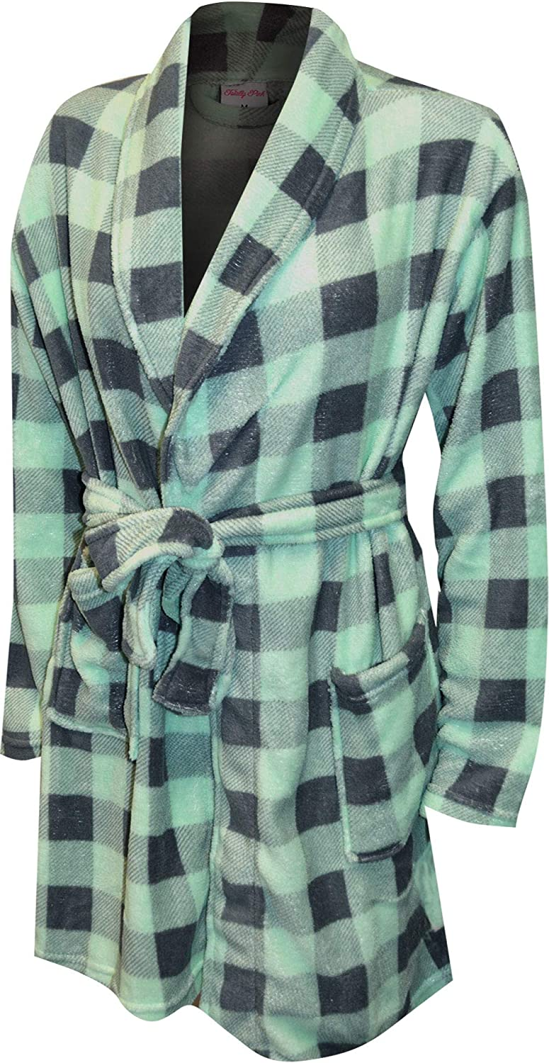 Totally Pink Women's Mint Green and Pl Gray Print New products world's highest quality popular store Plaid Buffalo