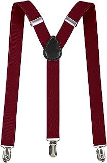 New Mens Womens Fancy Red Tartan Braces /& Rainbow Plain Tartan Braces 2.5 cm