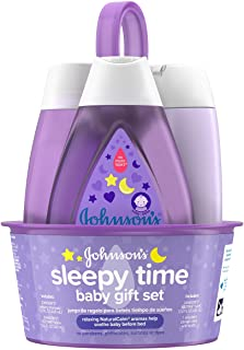 Johnson's Sleepy Time Baby Gift Set with Relaxing NaturalCalm Aromas, Bedtime Baby Essentials, Hypoallergenic & Paraben-Free, 4 Items