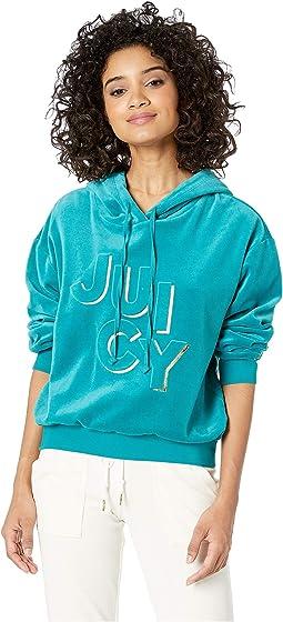 Juicy Embossed Velour Hooded Pullover