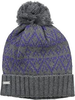 Coal Women's The Olive Geometric Pattern Beanie Pom and Ribbed Cuff
