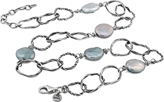 PZ Paz Creations .925 Sterling Silver Textured Link Gray Coin Pearl Chain Necklace W/Extender