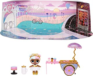 LOL Surprise Furniture Sweet Boardwalk with Sugar Doll and 10+ Surprises, Doll Candy Cart...