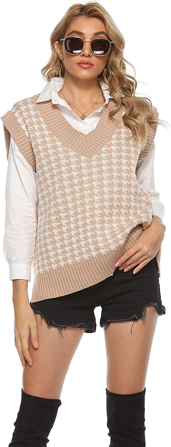 UANEO Womens Casual Oversized Houndstooth Knitted V-Neck Pullover Sweater Vests …