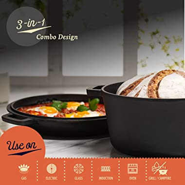 Legend Cast Iron Dutch Oven   5 Quart Cast Iron Multi Cooker Stock Pot For Frying, Cooking, Baking & Broiling on Inductio