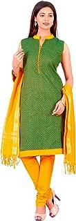 Manmandir Black Cotton Handloom Dress Material With Cotton Dupatta