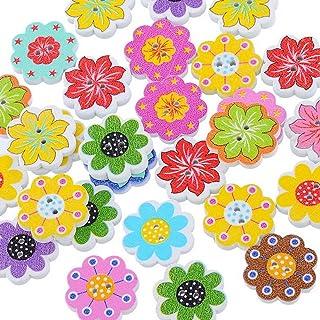 Pacote de 50 peças de botões de madeira em forma de flor misturada Souarts com 2 furos