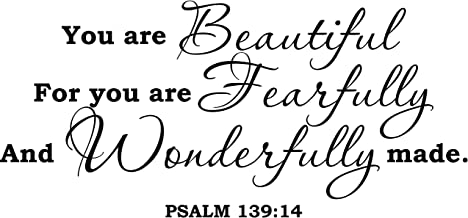 Empresal Wall Decal Quote Psalm 139:14 You are Beautiful Bible Verse Scripture Wall Decal