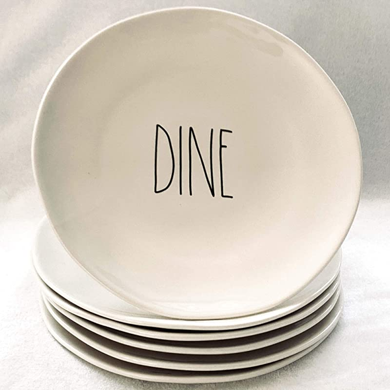 Rae Dunn By Magenta DINE Dinner Plates Set Of 6 11 Inch Diameter