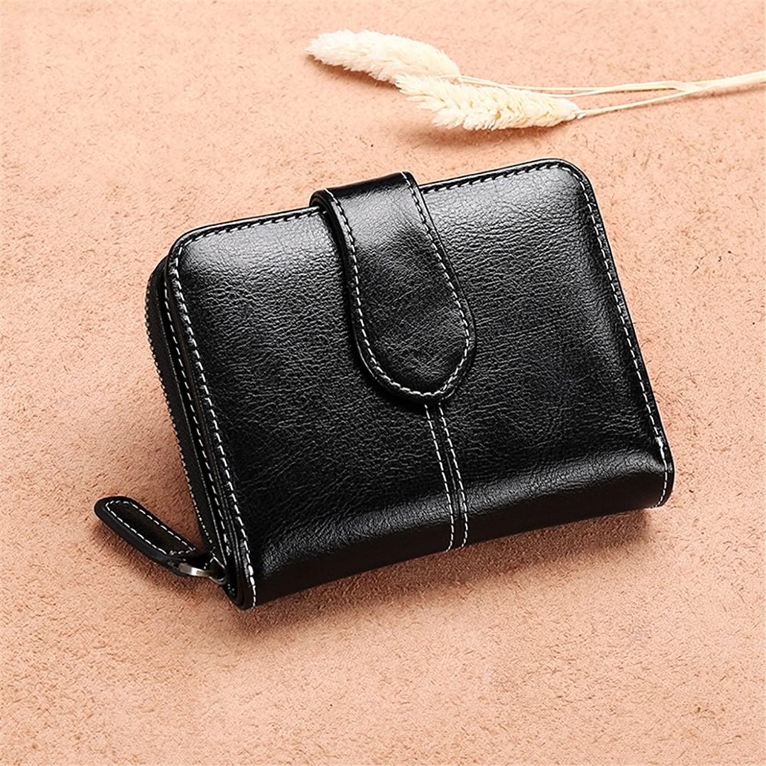 Women's Wallet Fashion Personality to Send A Good Friend Gift Lady Short Leather Wallet Short Buckle Cute Wallet Small Wallet Out Shopping Wear Essential (color   Black)