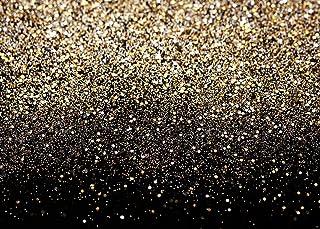 SJOLOON Fotohintergrund mit goldenen Punkten, Vinyl, Vintage, Astract Hintergrund für Familie, Geburtstag, Party, Neugeborene, Studio Requisiten, 3 x 2,4 m, Schwarz und goldfarben